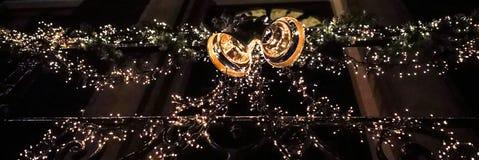 Κλασσική διακοσμητική κινηματογράφηση σε πρώτο πλάνο σχεδίου στοιχείων Χριστουγέννων Στοκ φωτογραφία με δικαίωμα ελεύθερης χρήσης