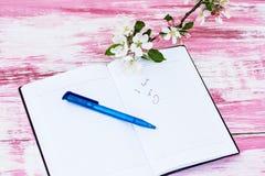 Κλαδάκια του ανθίζοντας Apple-δέντρου με ένα σημειωματάριο Στοκ φωτογραφία με δικαίωμα ελεύθερης χρήσης