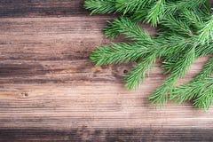 Κλαδίσκος δέντρων του FIR στον παλαιό ξύλινο πίνακα Στοκ Εικόνα