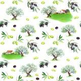 Κλαδί ελιάς, ελιές, αγροτικά σπίτια πρότυπο άνευ ραφής watercolor Στοκ εικόνα με δικαίωμα ελεύθερης χρήσης