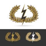 Κλαδί ελιάς με το σύμβολο βροντής του ελληνικού zeus Θεών Στοκ Εικόνες