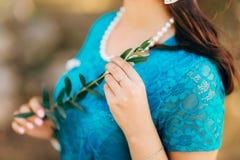 Κλαδί ελιάς στα θηλυκά χέρια Χέρια της νύφης Γάμος σε Mon Στοκ Εικόνα