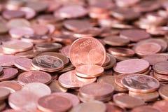 Κλείστε αυξημένος των ευρο- νομισμάτων σεντ Στοκ φωτογραφία με δικαίωμα ελεύθερης χρήσης