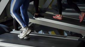 Κλείστε αυξημένος των ποδιών των γυναικών που περπατούν treadmill κατά τη διάρκεια της κατάρτισης απόθεμα βίντεο