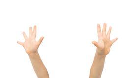 Κλείστε επάνω λίγου παιδιού δίνει αυξημένος προς τα πάνω στοκ φωτογραφία με δικαίωμα ελεύθερης χρήσης