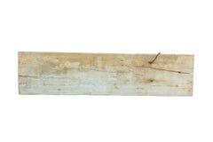 Κλείστε επάνω ενός κενού ξύλινου σημαδιού στο λευκό Στοκ Εικόνες