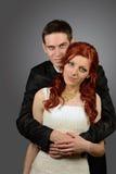 Κλείστε επάνω ενός συμπαθητικού νέου γαμήλιου ζεύγους Στοκ εικόνα με δικαίωμα ελεύθερης χρήσης