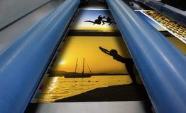 Κλείστε επάνω μιας μηχανής εκτύπωσης όφσετ Στοκ φωτογραφία με δικαίωμα ελεύθερης χρήσης