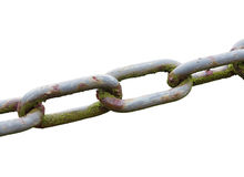 Κλείστε επάνω μιας παλαιάς ξεπερασμένης αλυσίδας που απομονώνεται σε ένα άσπρο backgroun Στοκ εικόνες με δικαίωμα ελεύθερης χρήσης