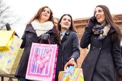 Κλείστε επάνω μιας όμορφης απόλαυσης γυναικών ψωνίζοντας από κοινού Στοκ φωτογραφίες με δικαίωμα ελεύθερης χρήσης