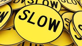 Κλείστε επάνω στο σωρό των κυκλικών κίτρινων σημαδιών στάσεων διανυσματική απεικόνιση