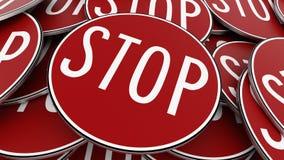 Κλείστε επάνω στο σωρό των κυκλικών κόκκινων σημαδιών στάσεων διανυσματική απεικόνιση