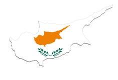 Κλείστε επάνω στο χάρτη της Κύπρου στο άσπρο υπόβαθρο, καμία σκιά Στοκ Εικόνες