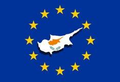 Κλείστε επάνω στο χάρτη της Κύπρου στο ευρο- υπόβαθρο ένωσης Στοκ εικόνα με δικαίωμα ελεύθερης χρήσης
