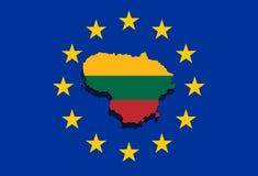 Κλείστε επάνω στο χάρτη της Λιθουανίας στο ευρο- υπόβαθρο ένωσης Στοκ φωτογραφία με δικαίωμα ελεύθερης χρήσης