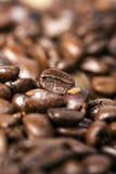 Κλείστε επάνω τα μαύρα ψημένα arabica φασόλια καφέ Στοκ Εικόνες