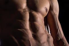 Κλείστε επάνω τα τέλεια ABS Προκλητικός μυϊκός αρσενικός κορμός έξι πακέτα στοκ εικόνα