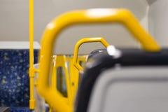 Κλείστε επάνω την άποψη λεπτομέρειας στο κάθισμα τραίνων Στοκ Φωτογραφία