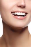 Κλείστε επάνω την άποψη πορτρέτου ομορφιάς ενός νέου φυσικού χαμόγελου γυναικών Στοκ φωτογραφία με δικαίωμα ελεύθερης χρήσης