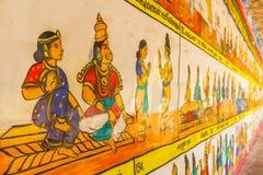 Κλείστε επάνω την άποψη της ζωγραφικής τοίχων, Kumbakonam, Tamilnadu, Ινδία - 17 Δεκεμβρίου 2016 Στοκ Εικόνα