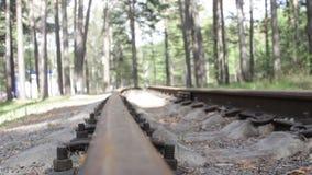 Κλείστε επάνω την άποψη του οξυδωμένου σιδηροδρόμου απόθεμα βίντεο