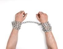 Κλείστε επάνω την άποψη των αλυσοδεμένων ανθρώπινων χεριών Στοκ εικόνα με δικαίωμα ελεύθερης χρήσης