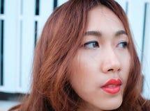 Κλείστε επάνω την ασιατική ομορφιά προσώπου Στοκ Εικόνα