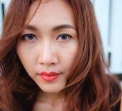 Κλείστε επάνω την ασιατική ομορφιά προσώπου Στοκ φωτογραφία με δικαίωμα ελεύθερης χρήσης