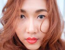 Κλείστε επάνω την ασιατική ομορφιά προσώπου Στοκ Εικόνες