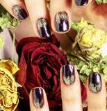 Κλείστε επάνω την εικόνα των καρφιών μανικιούρ με το ξηρό λουλούδι κόκκινο αυξήθηκε, deh Στοκ Εικόνες