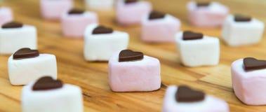 Κλείστε επάνω της καραμέλας σοκολάτας και marshmallow απαγορευμένα στοκ φωτογραφία με δικαίωμα ελεύθερης χρήσης