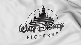 Κλείστε επάνω της κυματίζοντας σημαίας με το λογότυπο εικόνων Walt Disney, τρισδιάστατη απόδοση απεικόνιση αποθεμάτων