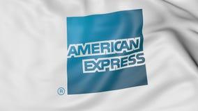 Κλείστε επάνω της κυματίζοντας σημαίας με το λογότυπο της American Express, τρισδιάστατη απόδοση απεικόνιση αποθεμάτων