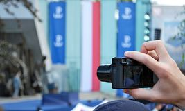 Κλείστε επάνω της πολιτικών συνεδρίασης και της κάμερας Στοκ φωτογραφία με δικαίωμα ελεύθερης χρήσης