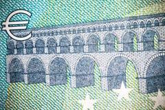 Κλείστε επάνω τη μακρο λεπτομέρεια των ευρο- τραπεζογραμματίων χρημάτων τονισμένος Στοκ Εικόνες