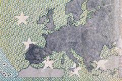 Κλείστε επάνω τη μακρο λεπτομέρεια των ευρο- τραπεζογραμματίων χρημάτων Στοκ φωτογραφία με δικαίωμα ελεύθερης χρήσης