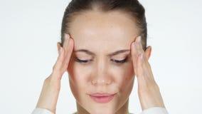 Κλείστε επάνω του ανήσυχου προσώπου γυναικών, πονοκέφαλος απόθεμα βίντεο