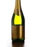 Κλείστε επάνω του μπουκαλιού σαμπάνιας με την κενή ετικέτα Στοκ φωτογραφία με δικαίωμα ελεύθερης χρήσης