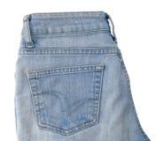 Κλείστε επάνω του μπλε τζιν Jean στο άσπρο υπόβαθρο Στοκ Φωτογραφία