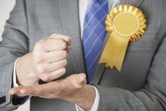 Κλείστε επάνω του πολιτικού που κάνει την εμπαθή ομιλία Στοκ Φωτογραφία
