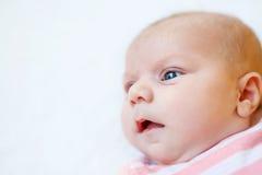 Κλείστε επάνω του προσώπου μωρών που απομονώνεται στο άσπρο υπόβαθρο Στοκ εικόνες με δικαίωμα ελεύθερης χρήσης