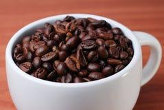 Κλείστε επάνω του φασολιού καφέ μέσα στο μεγάλο φλυτζάνι Στοκ Εικόνα