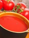 Κλείστε επάνω του gazpacho με τις φρέσκες ντομάτες Στοκ φωτογραφία με δικαίωμα ελεύθερης χρήσης