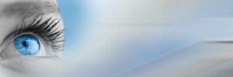 Κλείστε επάνω του greyscale ματιού με τη φωτεινή μπλε ίριδα και την γκρίζα έξυπνη μετάβαση τεχνολογίας Στοκ εικόνες με δικαίωμα ελεύθερης χρήσης