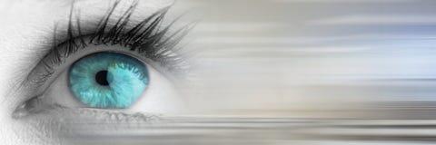 Κλείστε επάνω του greyscale ματιού με τη φωτεινή μπλε ίριδα με τη μουτζουρωμένη γκρίζα μετάβαση Στοκ Φωτογραφία