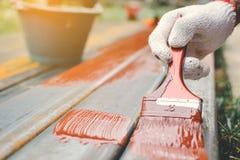 Κλείστε επάνω το άτομο στη ζωγραφική βουρτσών εκμετάλλευσης χεριών εργασίας στο χάλυβα Στοκ Εικόνες