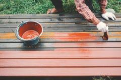 Κλείστε επάνω το άτομο στη ζωγραφική βουρτσών εκμετάλλευσης χεριών εργασίας στο χάλυβα Στοκ φωτογραφία με δικαίωμα ελεύθερης χρήσης