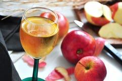 Κλείστε επάνω το ποτήρι του χυμού της Apple Στοκ Εικόνες