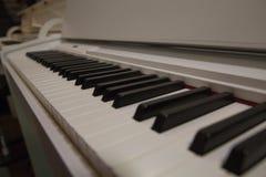 Κλείστε επάνω το ρηχό βάθος κλειδιών πιάνων του τομέα στοκ εικόνα με δικαίωμα ελεύθερης χρήσης
