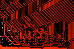 Κλείστε επάνω των ηλεκτρονικών κυκλωμάτων στην τεχνολογία σε Mainboard Στοκ Εικόνα